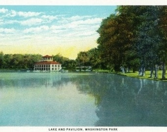 Denver, Colorado - Washington Park View of the Lake and Pavilion (Art Prints available in multiple sizes)
