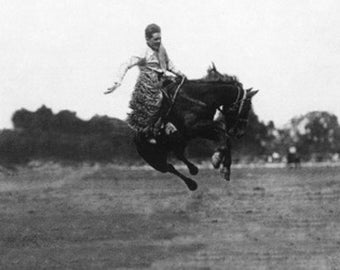 Miles City, Montana - Lee Caldwell on Flying Devil Horse at Round Up (Art Prints available in multiple sizes)