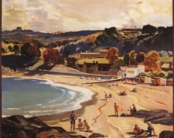 Southern and Great Western Railway Beach Scene Poster (Art Prints available in multiple sizes)