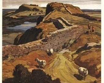 Hadrian's Wall and Sheep British Rail Poster (Art Prints available in multiple sizes)