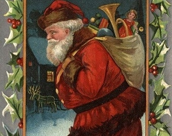 Wishing You a Merry Christmas - Santa Marching (Art Prints available in multiple sizes)