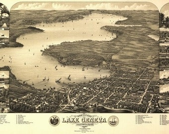 Lake Geneva, Wisconsin - Panoramic Map (Art Prints available in multiple sizes)