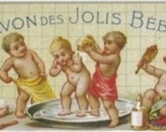 Savon Des Jolis Bebes Soap Label (Art Prints available in multiple sizes)