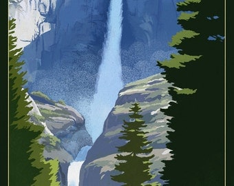 Yosemite Falls - Yosemite National Park, California Lithography (Art Prints available in multiple sizes)