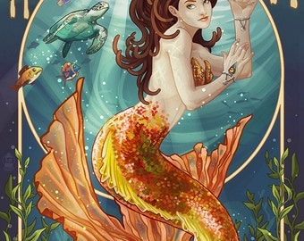 Hermosa Beach, California - Mermaid (Art Prints available in multiple sizes)