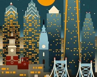 Philadelphia, Pennsylvania - Retro Skyline (Art Prints available in multiple sizes)