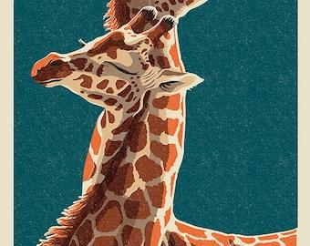 Giraffe - Letterpress (Art Prints available in multiple sizes)