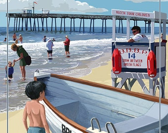Brigantine Beach, New Jersey - Lifeguard Stand (Art Prints available in multiple sizes)