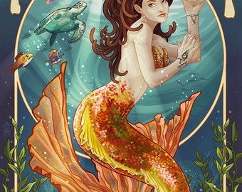 Mermaid - Hawaii (Art Prints available in multiple sizes)
