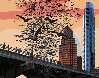 Austin, Texas - Bats and Congress Avenue Bridge (Art Prints available in multiple sizes)