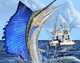 Deep sea fishing etsy for Deep sea fishing long beach