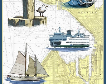 Seattle, Washington - Nautical Chart (Art Prints available in multiple sizes)