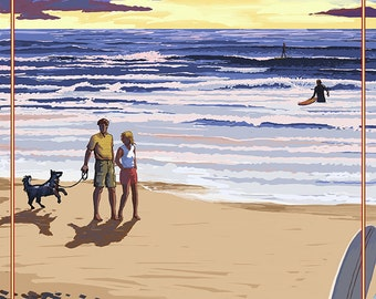 Redondo Beach, California - Sunset Beach Scene (Art Prints available in multiple sizes)