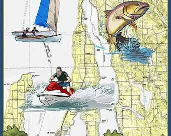 Torch Lake, Michigan - Nautical Chart (Art Prints available in multiple sizes)