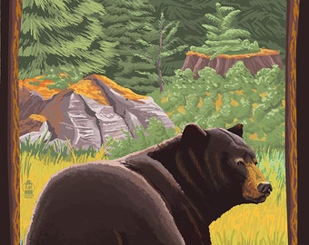 Bigfork, Montana - Bear in Forest (Art Prints available in multiple sizes)