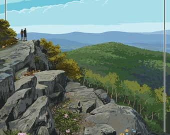 Shenandoah National Park, Virginia - Hikers and Hawk (Art Prints available in multiple sizes)