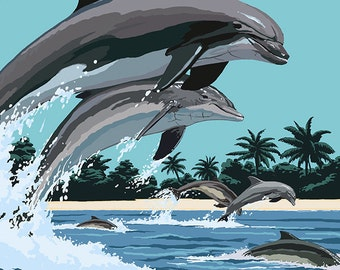 South Carolina - Dolphins Swimming (Art Prints available in multiple sizes)