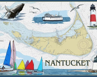 Nantucket, MA Nautical Chart (Art Prints available in multiple sizes)