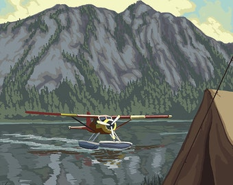 Float Plane and Camping (Art Prints available in multiple sizes)