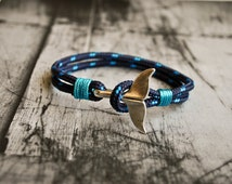 Blue whale tail mens paracord nautical bracelet | nautical wristband | nautische armband | pulsera hombre | dolphin tail bracelet