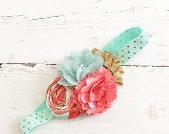 mint coral gold headband // metallic chiffon sparkle satin headband // baby girl headband