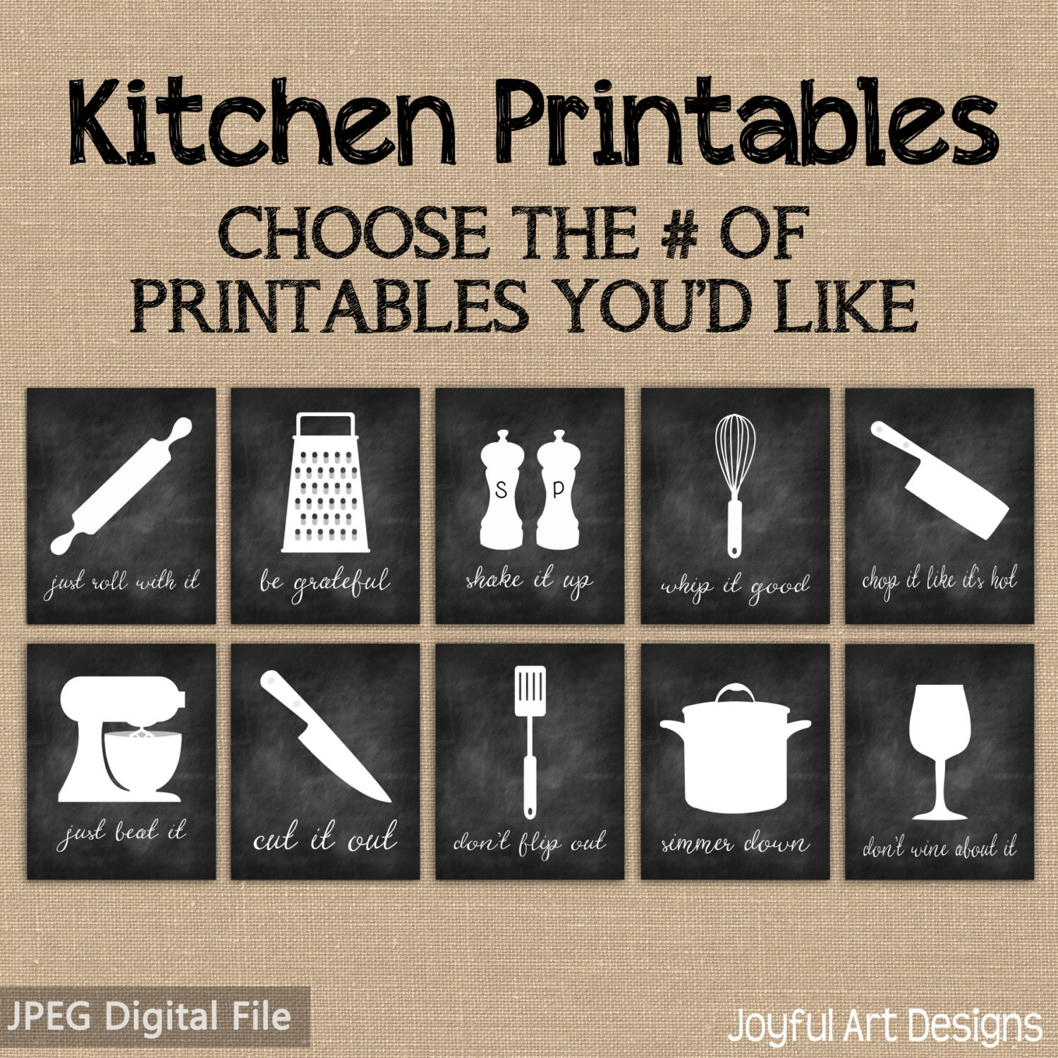 Kitchen Signs Sayings: Kitchen Decor PRINTABLE Signs. Set Of Chalkboard Kitchen