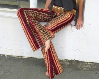 BOHEMIAN VERTICAL STRIPE Indian print cotton  70's fashion flare leg gypsy hippie retro festival yoga beach lounge bell bottoms