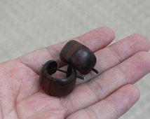 Small Wood Post Earrings, Small Brown Hoop, Sono Wood Earrings (EPW09)