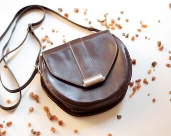 Vintage Small dark brown faux Leather Shoulder Bag 80s