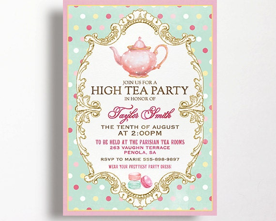 High Tea Invitation For Kitchen Tea Tea Party Bridal Shower