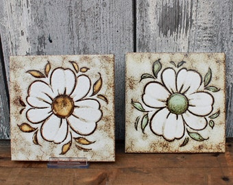 Vintage ceramic tile set of 2 1970s decorative wall art flower power yellow