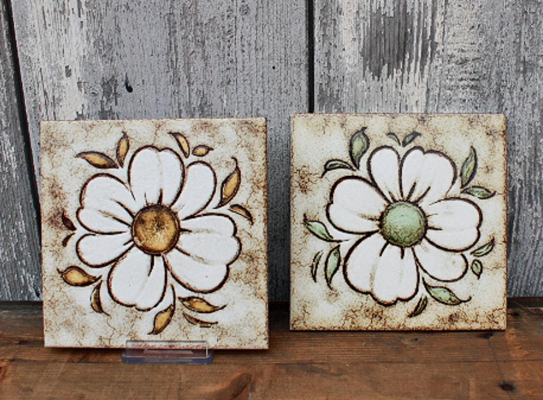 Vintage Ceramic Tile Set Of 2 1970s Decorative Wall Art Flower