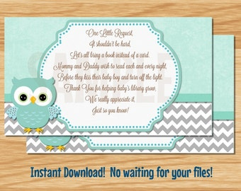 Owl Baby Boy Book Cards - INSTANT DOWNLOAD!