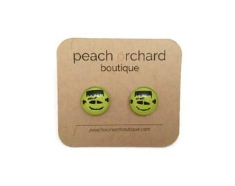 NEW Halloween Frankenstein earrings - Halloween jewelry- Frankenstein studs- Halloween Studs