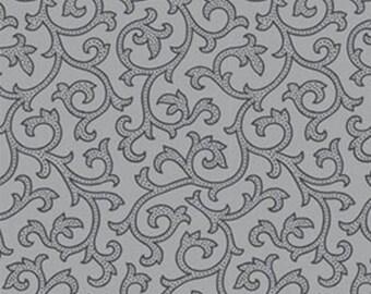 Half Yard Daisy Mae - Joy in Dove Gray - Cotton Quilt Fabric - by E. Vive for Benartex Fabrics 1333-08 (W2826)