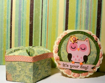 Owl favor box and invitation - Set of 5