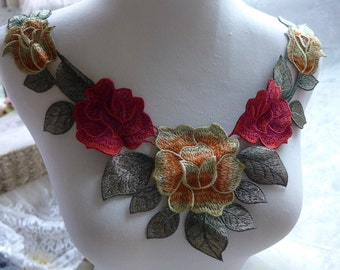 Venice Venise Lace Applique Collar Necklace for Costume Design Craft Sewing Supplies