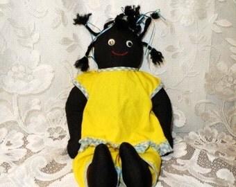 Black Americana Doll- Folk Rag Doll- Vintage Handmade Cloth Doll- Cute Hand Sewn Rag Bag Dolly-