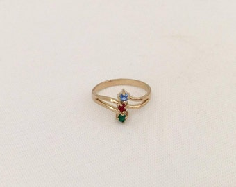 SALE Vintage Jewelry Gold-Tone Mixed Gemstone Ring Size 5.75