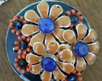 Auburn--Recycled Orange and Blue Flower Pendant