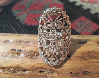 Vintage Marcasite and Sterling Silver Ring Size 8