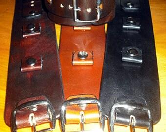2 Inch Wide Plain Leather Watch Cuffs