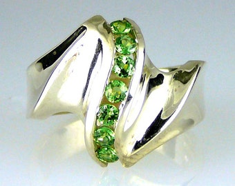 Natural Tsavorite Garnet Waterfall Ring .925 Sterling Silver
