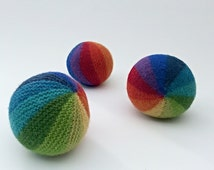Hand Knit Ball, Rainbow Ball, Soft Ball, Wool Ball, Baby Gift Idea, Waldorf Toy, Baby Ball,Soft Toy, Indoor Ball, Baby Toy Ball