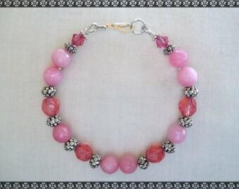 pink beaded bracelet, pink bracelet, light pink bracelet, pink