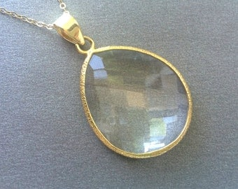 Crystal Gold Necklace, Large Clear Crystal Gold Filled Chain