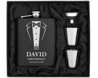 Engraved 7oz Matte Black Stainless Steel Hip Flask Funnel Shots Gift Set Box Wedding Tuxedo Personalized Custom Groomsman Best Man Wedding