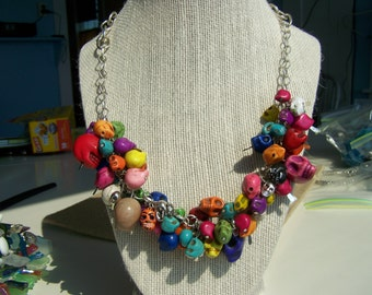 Multi-skull, Multi-colored necklace