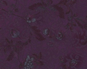 RJR Fabrics Chelsea 2100 11 Peony on Damask Plum Yardage by Jinny Beyer