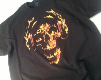 Hot Head Skull With Headphones Graphic t-shirt mens